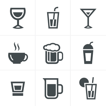whie wine: Drink  Icons Set, Vector Design Illustration