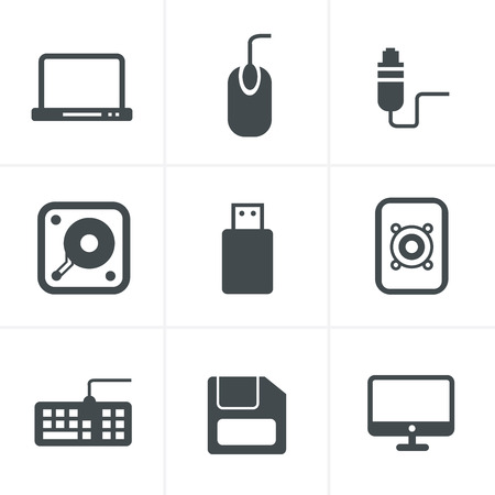 lcd panel: Computer Icons Set, Vector Design