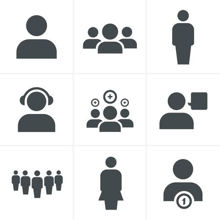 gente adulta: equipo conjunto de iconos, diseño del vector Vectores