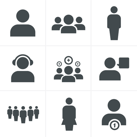 three persons: team icon set, Vector Design