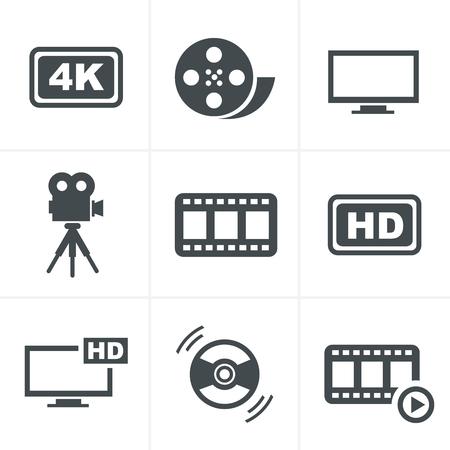 video reel: Movie icons set Illustration