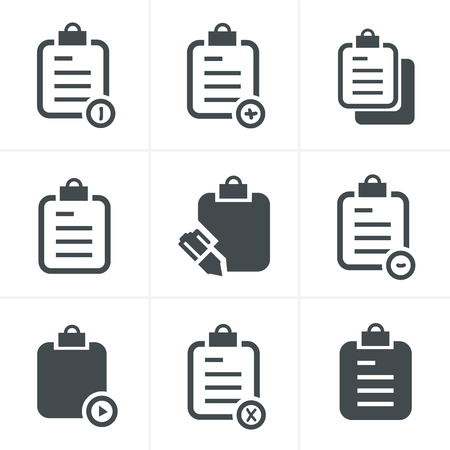 clipboard isolated: Vector isolated clipboard, list icons set