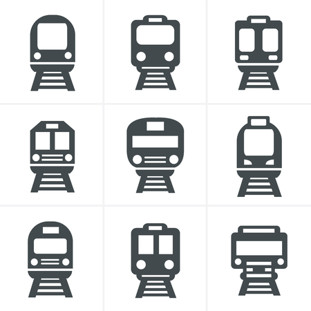 hovercraft: Set of transport icons - Train and Tram, vector illustration