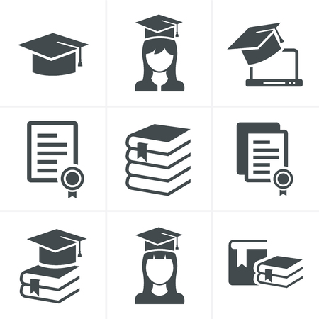 Onderwijs pictogrammen set. Stock Illustratie
