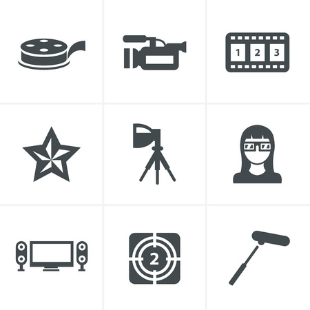pg: vector black movie icon set on gray Illustration
