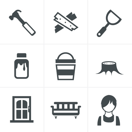 claw hammer: Icons set carpentry