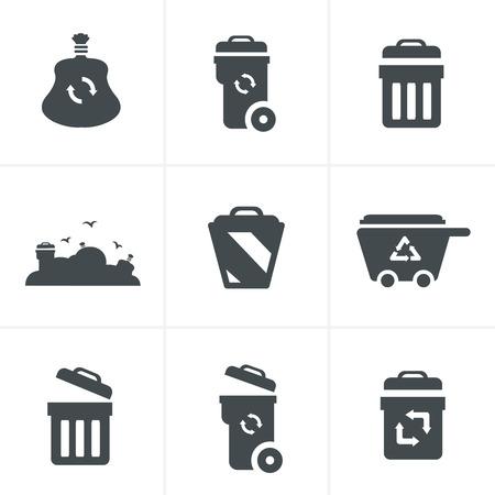 camion de basura: Iconos de basura Vectores