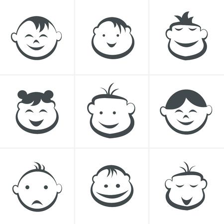 shop tender: Kids icons set, boys and girls, children symbols, vector illustration