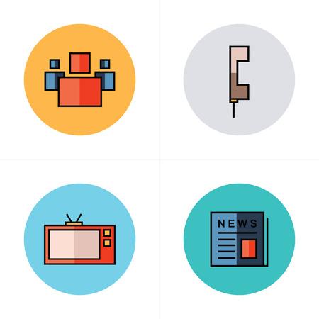 newsprint: people, news, tv, phone icons flat design