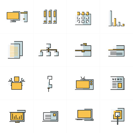 old pc: office icons set yellow and gray color