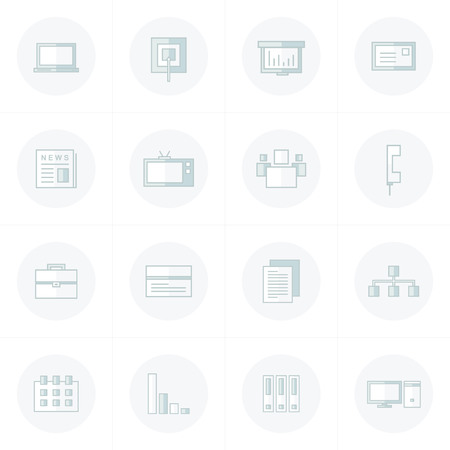 solo: office icons set gray solo color