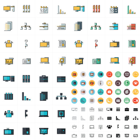 old pc: office icons set 7 styles