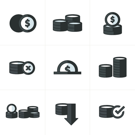 accumulate: Coins Icons Set  black color