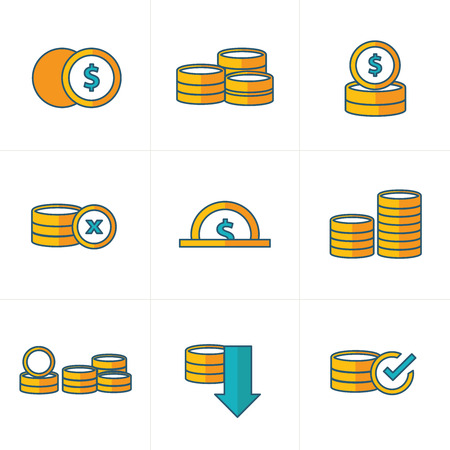 accumulate: Coins Icons Set cute style Illustration