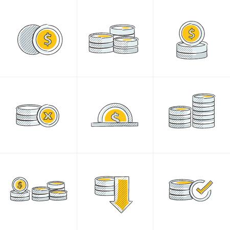 accumulate: Coins Icons Set art design