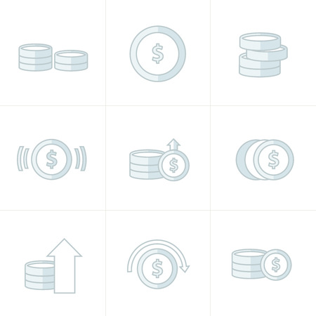 accumulate: Coins Icons Set, white color