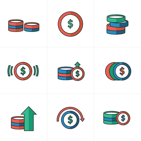 accumulate: Coins Icons Set, blue, green, red color Illustration