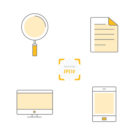 mouse pad: Icons Phone, Paper, Computer And Magnifier yellow style