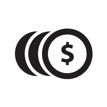 monet: Coins with dollar sign simple icon on white background