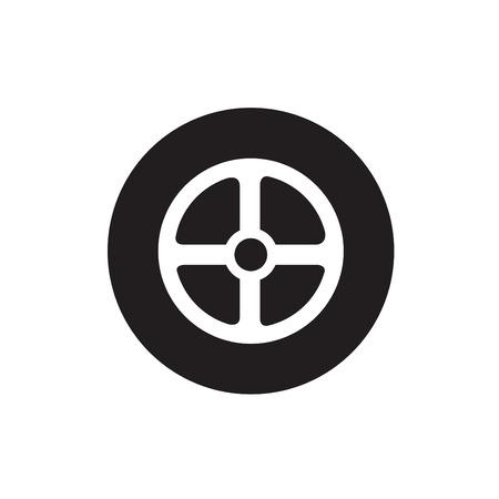motoring: Car wheel. Single flat icon on white background