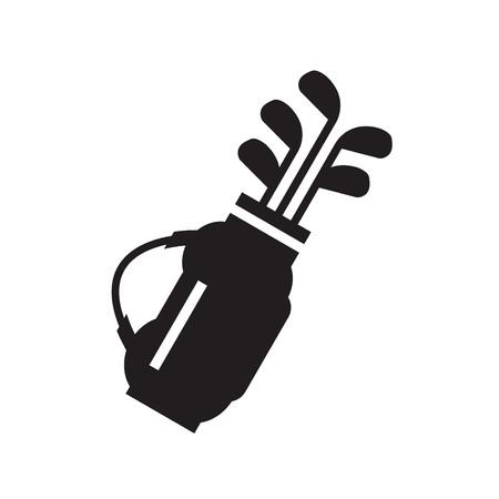 golf bag: Golf bag with clubs symbol  icon Illustration