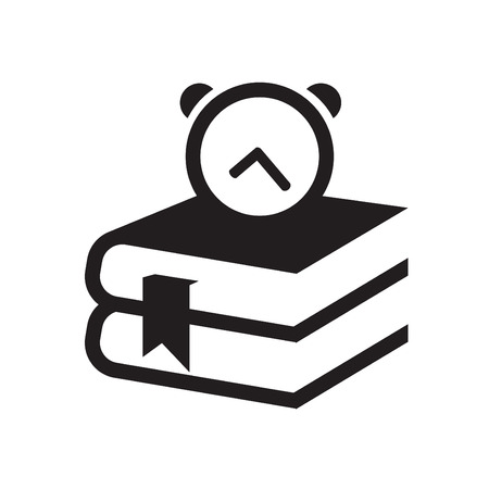 nonfiction: Simple set of books and clock icon Illustration