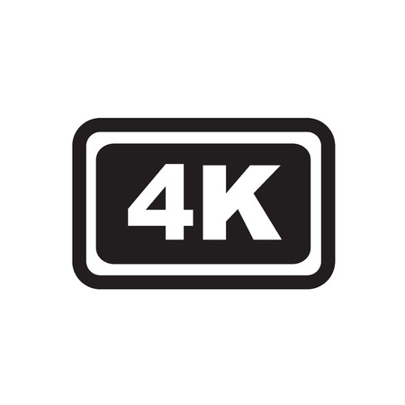 ultra: Ultra HD 4K 3d icon isolated on white background Illustration