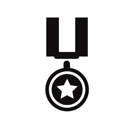 war decoration: Military medal simple icon Illustration