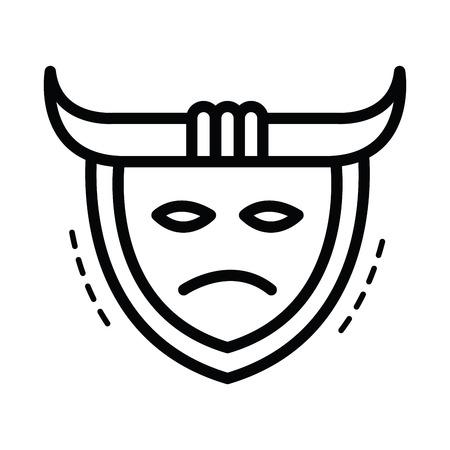 ronin: samurai mask icon  line style Illustration