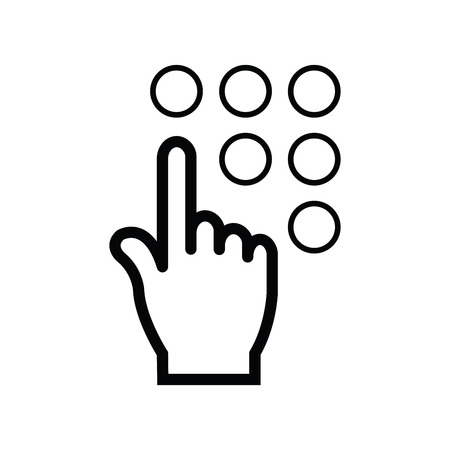 click with hand: click, hand icon line icon