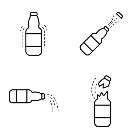 carbonated beverage: Bottle With Cola Icon line style