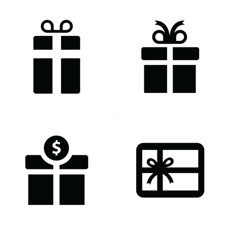 giftware: vector black gift icons
