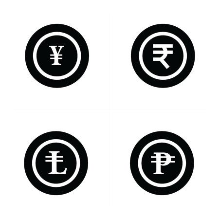 lira: Coins Icons set, yens, Rupee, lira, ruble