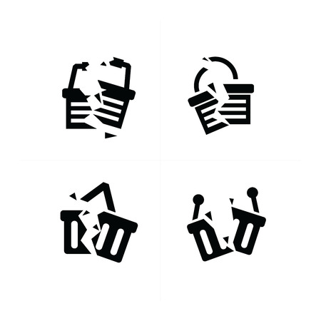 break: Shopping cart break Icon Set Illustration