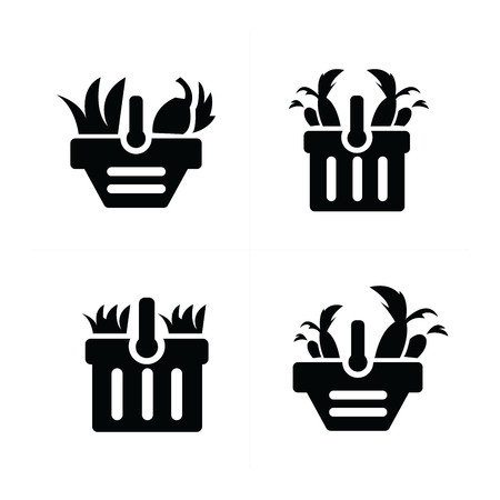 time account: Vegetable and cart Icon Set Illustration