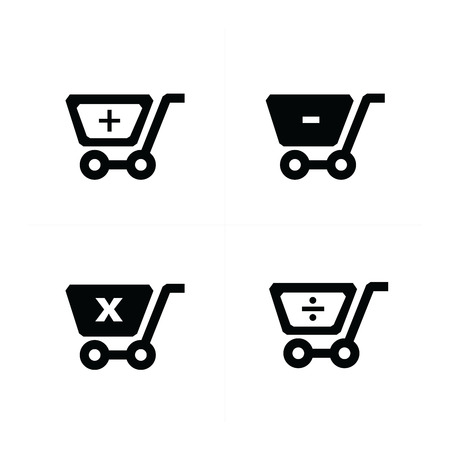 mathematical: Shopping cart icons with  mathematical symbol Illustration