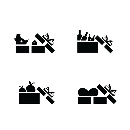 giftware: Set black gift icons, open food gift box