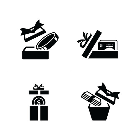 giftware: Set black gift icons, open credit in gift box