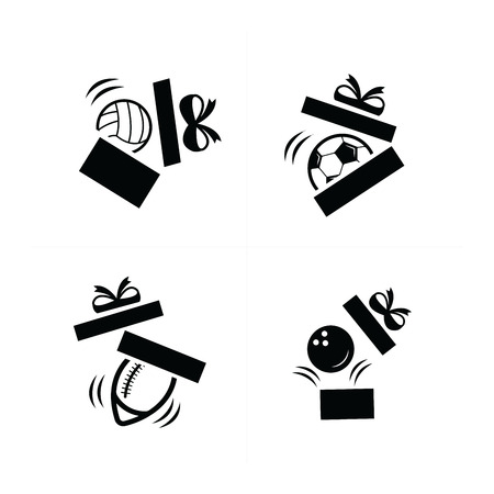 giftware: Set black sport fall in gift icons is Damage Illustration