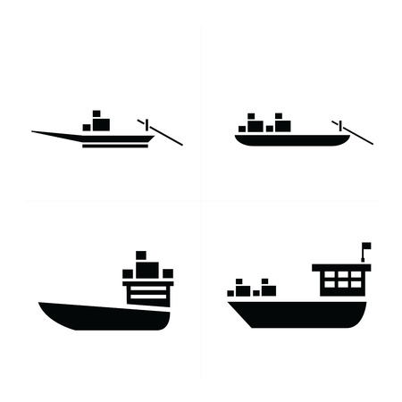brigantine: transport boat and small boat icon Illustration