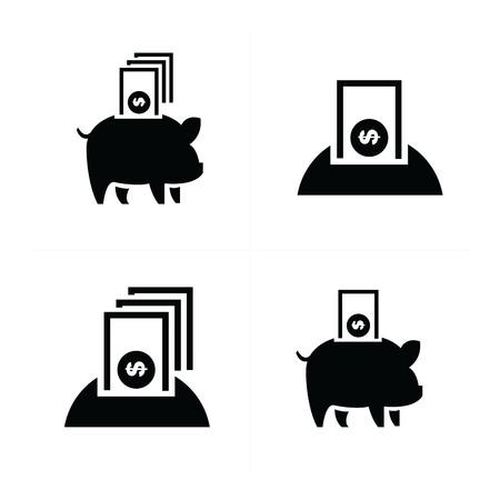 dolar: bancarias y dinero iconos Piggy