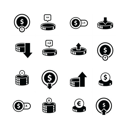 contemplate: coin and bubbles icon 16 item Illustration