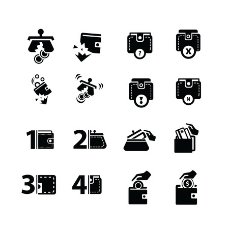 dilapidated: dilapidated Wallet set and hand action icons