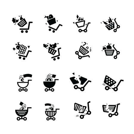 hand cart: Damage Shopping cart and hand  icons.