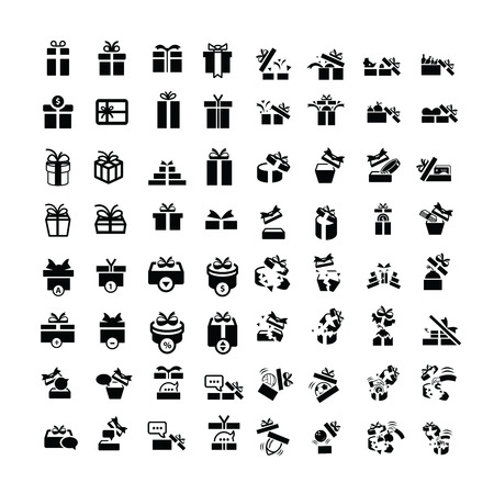 giftware: Set black gift box icons set 64 item Illustration
