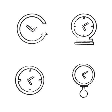 La hora del reloj de conjunto de iconos Dibujar ajustado