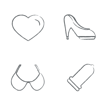 high heeled: Hand drawn feminine icon