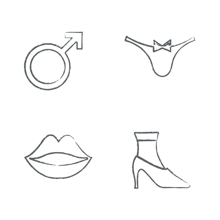contraception: Draw set Drawing Time Clock Icons Set