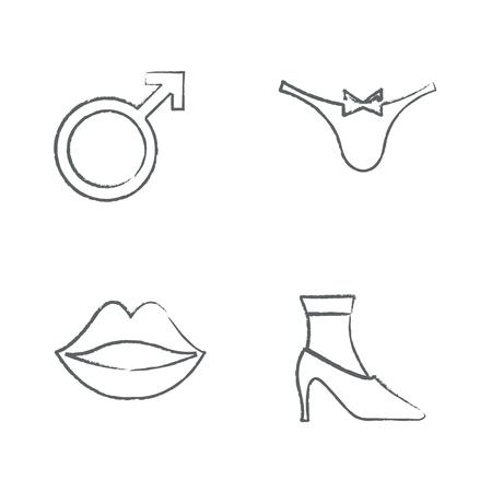 high heeled: Draw set Drawing Time Clock Icons Set