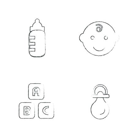black baby boy: Baby Icons Set, Vector Design Draw Illustration